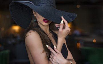 style, girl, photo, model, lips, hands, hat, gesture, face, k