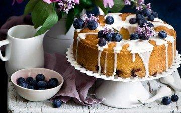 ягоды, черника, сладкое, выпечка, глазурь, пирог, кекс
