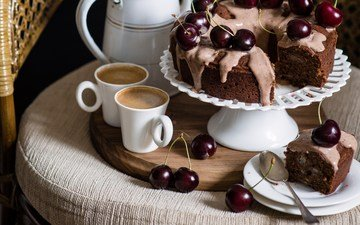 coffee, cherry, chair, cup, plate, cakes, dessert, pie, still life, spoon, cupcake