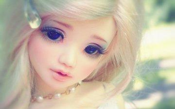 взгляд, игрушка, кукла, волосы, лицо
