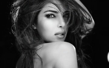 girl, look, black and white, hair, face, actress, bollywood, priyanka chopra