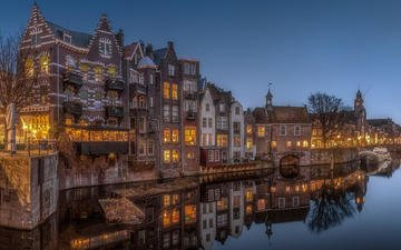 ночь, огни, отражение, город, нидерланды, амстердам, herman van den berge