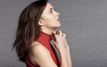 girl, pose, look, profile, ring, hair, actress, dakota johnson