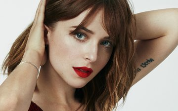 girl, look, hair, face, actress, dakota johnson