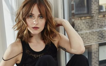 girl, portrait, look, hair, face, dakota johnson
