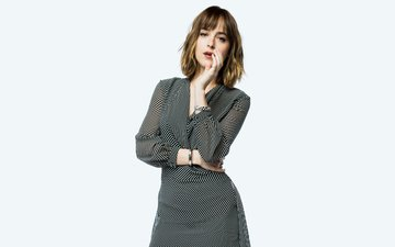 background, dress, actress, brown hair, dakota johnson