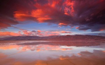 the sky, clouds, lake, mountains, sunset, reflection