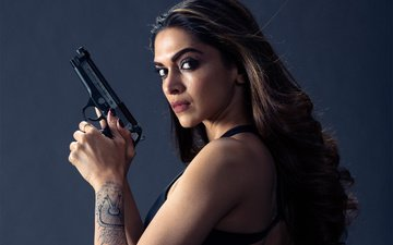 girl, background, brunette, gun, the film, tattoo, makeup, hairstyle, action, deepika padukone, three x: world domination, deepika padukon, xxx: return of xander cage