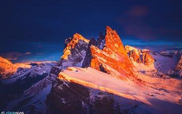 вечер, горы, скалы, закат, зима, италия, доломитовые альпы, хребет
