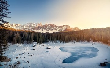 lake, mountains, snow, forest, winter, landscape, italy, the dolomites