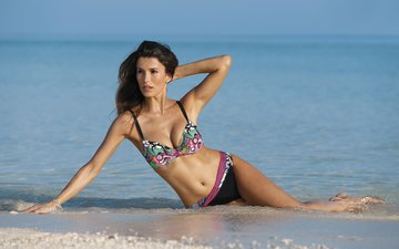 girl, sea, beach, brunette, model, bikini, domenico pelella