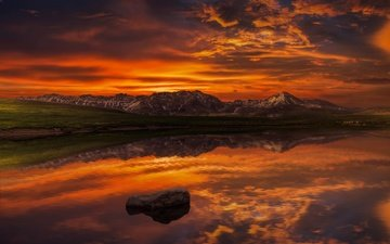the sky, clouds, lake, mountains, reflection, horizon, twilight