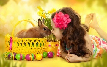 flowers, smile, look, girl, hair, face, rabbit, easter, eggs, daffodils, bunny