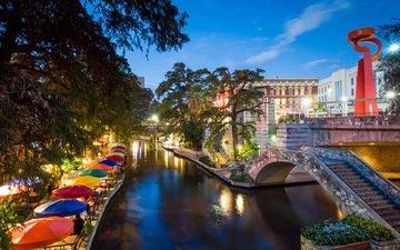 river, the city, usa, texas, san antonio