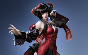 girl, look, hair, face, horns, tekken, elisa