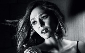 girl, look, black and white, model, hair, face, actress, elizabeth olsen