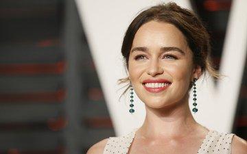 girl, smile, look, hair, face, actress, earrings, emilia clarke