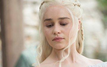 блондинка, лицо, игра престолов, эмилия кларк, песнь льда и огня, телесериал, дейенерис таргариен, ферзя