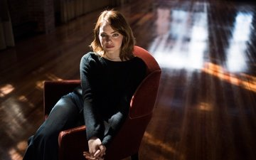 red, jeans, chair, actress, makeup, hairstyle, posing, photoshoot, sitting, jumper, emma stone, jabin botsford