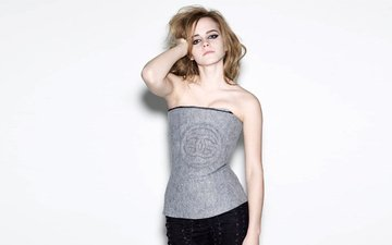 girl, look, model, face, actress, white background, emma watson, bare shoulders