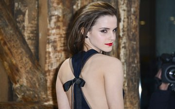girl, look, model, face, actress, red lips, emma watson, bare shoulders