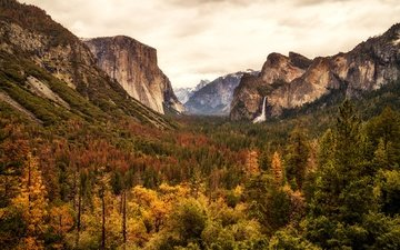 clouds, trees, mountains, rocks, forest, panorama, waterfall, autumn, usa, gorge, valley, ca, yosemite, yosemite national park