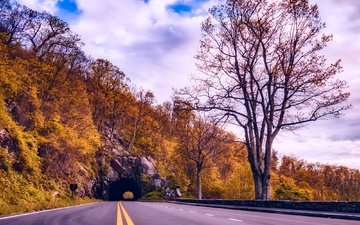 road, clouds, trees, slope, mountain, autumn, usa, the tunnel, yellow, va, highway, shenandoah