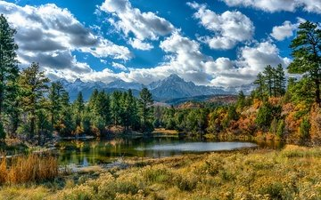 the sky, grass, clouds, trees, lake, mountains, the sun, forest, usa, colorado, ouray