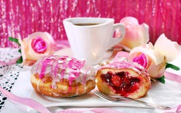 background, roses, coffee, donuts, cakes, dessert, glaze, jam