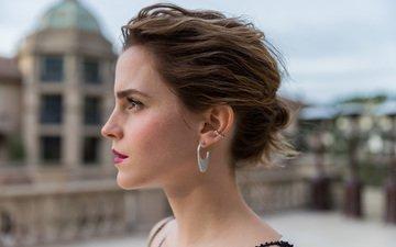girl, look, model, profile, face, actress, earrings, emma watson