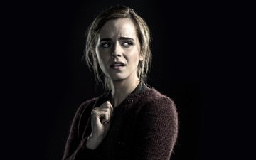 girl, look, model, black background, face, actress, emma watson, regression