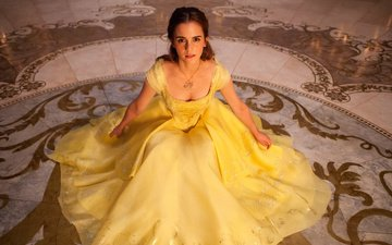 emma watson, yellow dress, beauty and the beast, belle