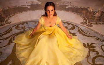эмма уотсон, желтое платье, красавица и чудовище, белль