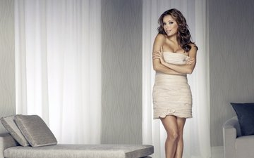 girl, pillow, dress, smile, look, model, room, face, actress, couch, tulle, eva longoria