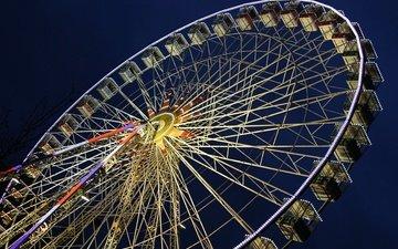 night, ferris wheel, attraction