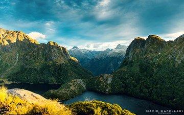 lake, river, mountains, nature, landscape, new zealand, the fiordland national park, david capellari