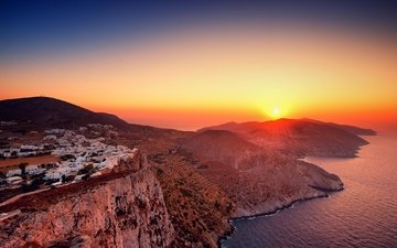 mountains, rocks, sunset, sea, coast, home, island, greece, folegandros