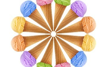 ice cream, white background, colorful, horn, sweet, dessert, waffles, des