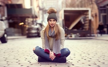 girl, pose, blonde, the city, look, sitting, jeans, hair, hat, makeup, posing, sweater, shoes, bokeh, scarf, on the road, ripped jeans