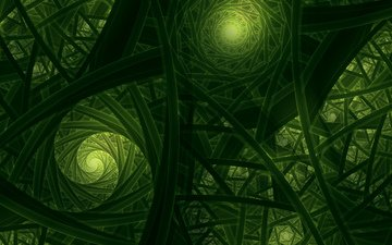 abstraction, green, color, form, fractal