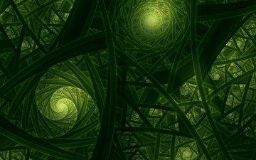 абстракция, зелёный, цвет, форма, фрактал