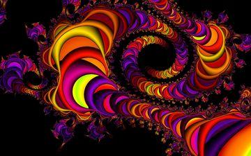 цвет, форма, разноцветный, спираль, черный фон, фрактал
