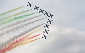 the sky, flight, aircraft, fighters, air show