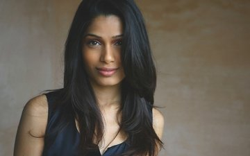 girl, brunette, look, hair, lips, face, actress, freida pinto