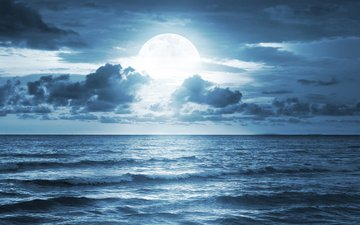 the sky, clouds, sea, horizon, the moon, the full moon