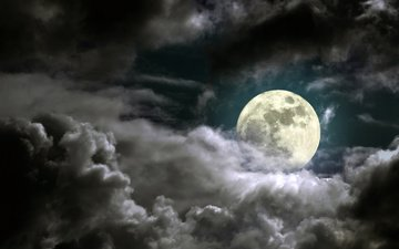the sky, clouds, the moon, the full moon