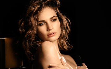portrait, model, black background, actress, makeup, hairstyle, advertising, perfume, photoshoot, brown hair, lily james, my burberry black, dan medhurst