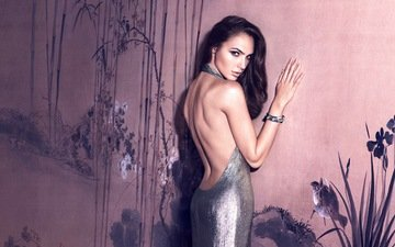 girl, dress, brunette, look, back, hair, face, actress, bare shoulders, gal gadot