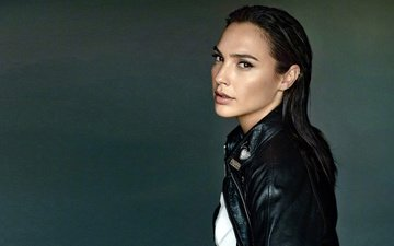 girl, look, model, hair, face, actress, gal gadot, leather jacket