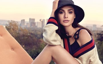 pose, view, model, legs, actress, jacket, makeup, hairstyle, sunbed, hat, photoshoot, gal gadot, craig mcdean, 2017
